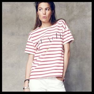 Madewell Beach Shirttail in Striped Red